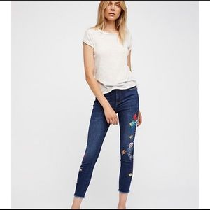 Free People Embroidered Bird Jeans
